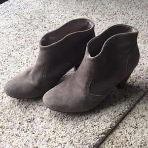 Suede Booties with wood heel